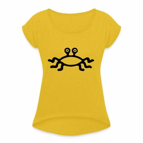 Latający Potwór Spaghetti - symbol LPS - Koszulka damska z lekko podwiniętymi rękawami