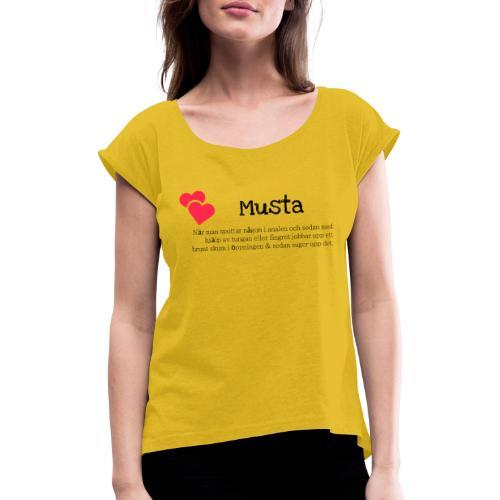 Musta - T-shirt med upprullade ärmar dam