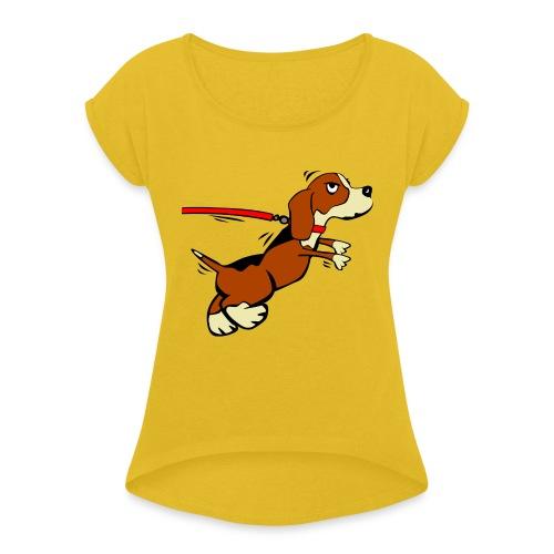 Kleiner Hund - Frauen T-Shirt mit gerollten Ärmeln