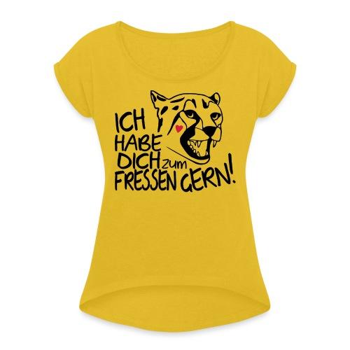 Zum Fressen Gern Haben Herz Liebe Partner Spruch - Frauen T-Shirt mit gerollten Ärmeln