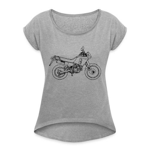 NX250 zijaanzicht zwart - Vrouwen T-shirt met opgerolde mouwen
