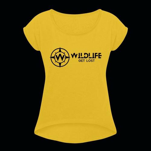 LOGO E SCRITTA WILDLIFE - Maglietta da donna con risvolti