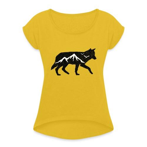 Adventurer Logo - T-skjorte med rulleermer for kvinner