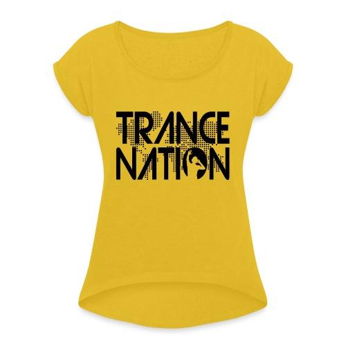 Trance Nation (Black) - T-shirt med upprullade ärmar dam