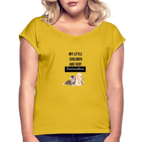 logo perro y gato - Camiseta con manga enrollada mujer
