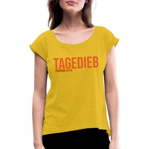 TAGEDIEB - Print in orange - Frauen T-Shirt mit gerollten Ärmeln