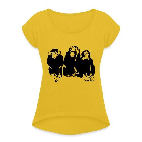 3 monkeys - T-shirt à manches retroussées Femme