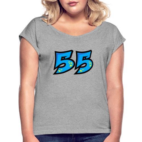 graf55blue - Naisten T-paita, jossa rullatut hihat