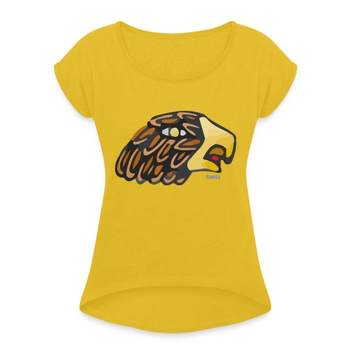 Aztec Icon Eagle - Women's T-Shirt with rolled up sleeves