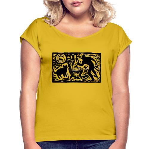 Teufel mit Katze - Frauen T-Shirt mit gerollten Ärmeln