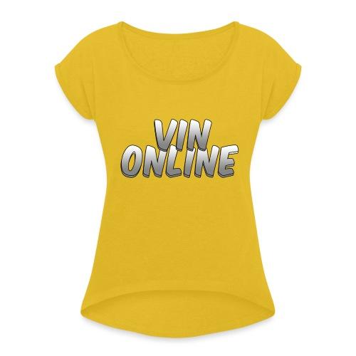 VinOnline T;shirt - Vrouwen T-shirt met opgerolde mouwen