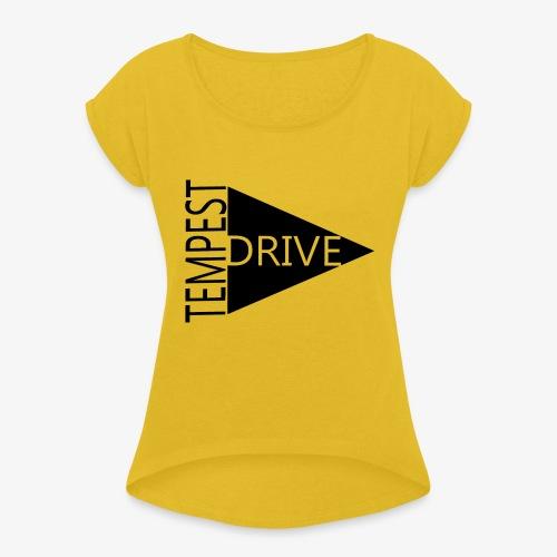 Komprimeret logo - Dame T-shirt med rulleærmer
