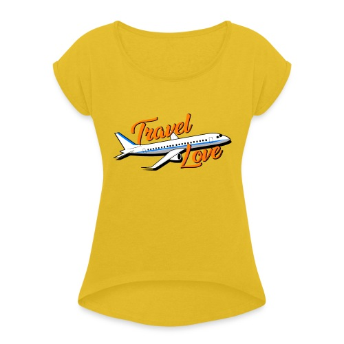 Travel love Air - Camiseta con manga enrollada mujer