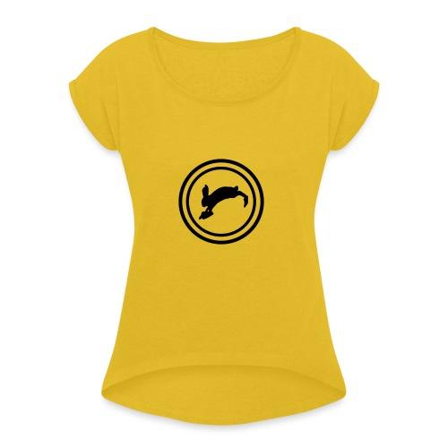 Bunny_Black2 - Dame T-shirt med rulleærmer