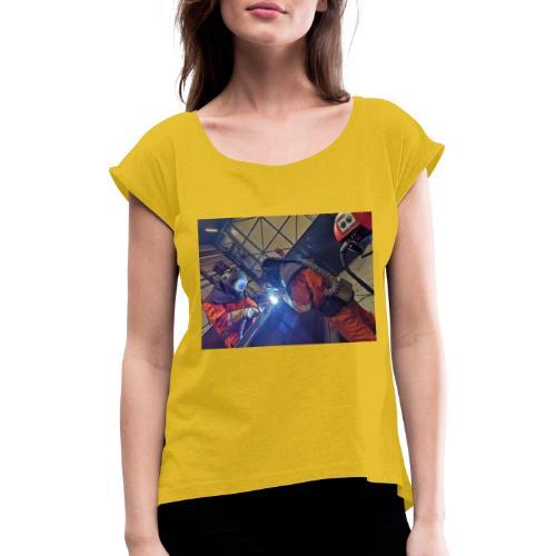 Duo welding - Vrouwen T-shirt met opgerolde mouwen