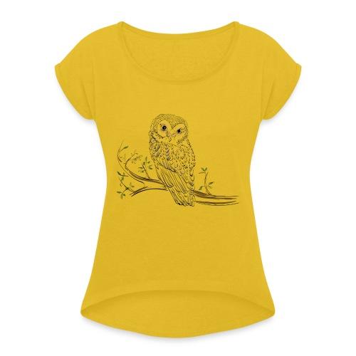 owl stevanka eule - Frauen T-Shirt mit gerollten Ärmeln
