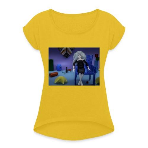 Pop in een fantasie wereld - Vrouwen T-shirt met opgerolde mouwen