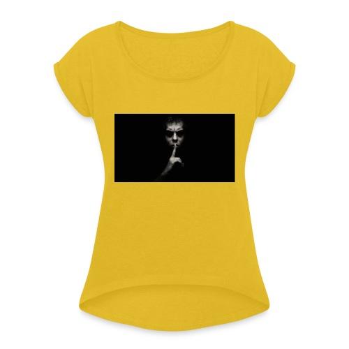 PRIVATE SECURITY DARK SHHHHH! - Frauen T-Shirt mit gerollten Ärmeln
