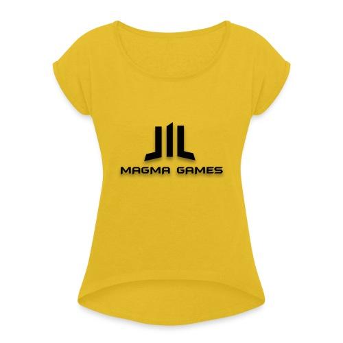 Magma Games kussen - Vrouwen T-shirt met opgerolde mouwen