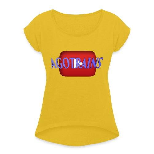 AGOTRAINS - Maglietta da donna con risvolti