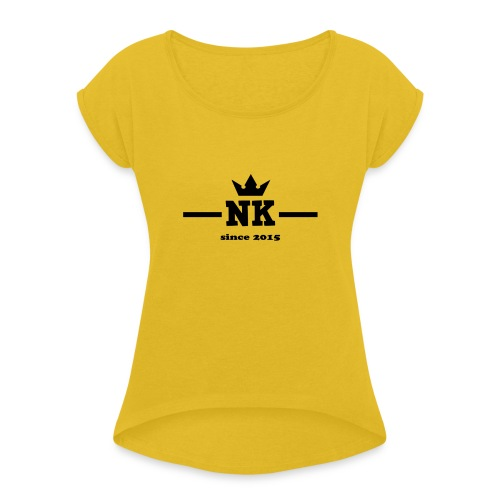 logo_3_schwarz - Women's T-Shirt with rolled up sleeves