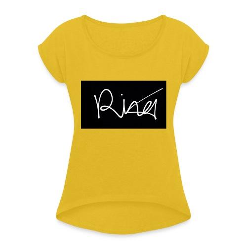 Autogramm - Frauen T-Shirt mit gerollten Ärmeln