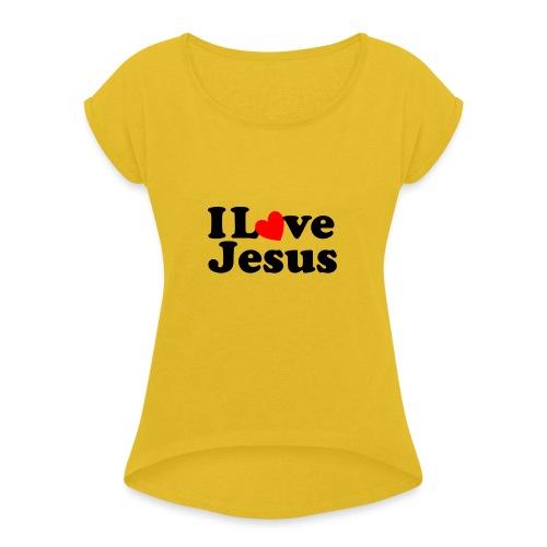 I Love Jesus - Maglietta da donna con risvolti