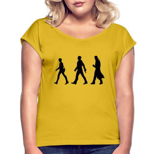Black Title and Character design - Women's T-Shirt with rolled up sleeves