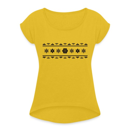 Norweger Muster Stern - Frauen T-Shirt mit gerollten Ärmeln