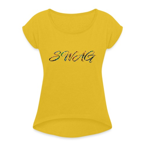 Texte 'Swag' - T-shirt à manches retroussées Femme