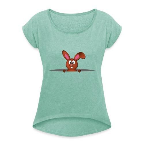 Cute bunny in the pocket - Maglietta da donna con risvolti