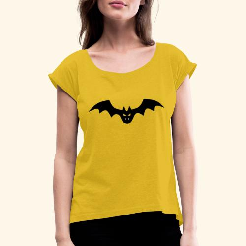 Spooky Bat with Fangs - Women's T-Shirt with rolled up sleeves