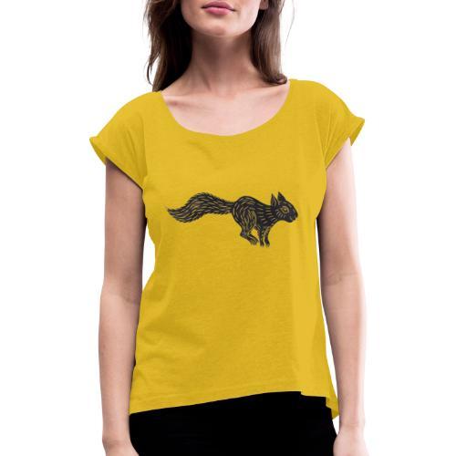 squirrel jumping - Frauen T-Shirt mit gerollten Ärmeln