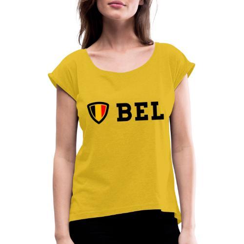 BEL Belgium Blason tricolore Football - T-shirt à manches retroussées Femme