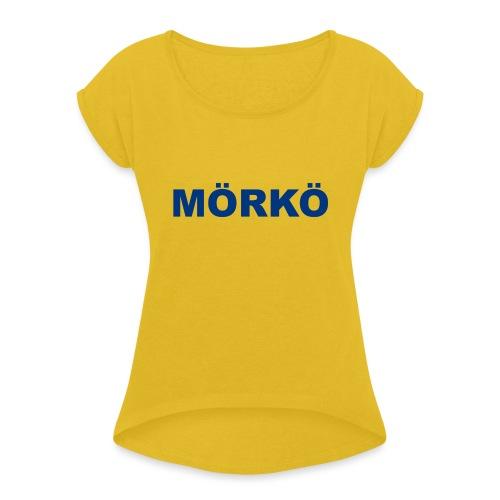 Sininen MÖRKÖ - Naisten T-paita, jossa rullatut hihat