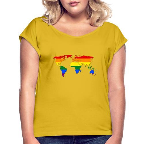 RAINBOW WORLD - LOVE Is LOVE - GAYPRIDE - Frauen T-Shirt mit gerollten Ärmeln