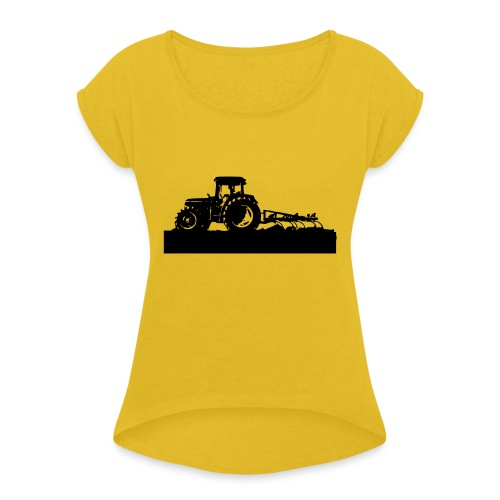Tractor with cultivator - Women's T-Shirt with rolled up sleeves