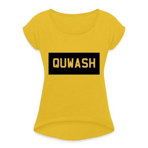 QUWASH - Vrouwen T-shirt met opgerolde mouwen