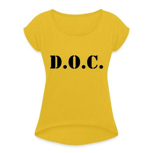 Department of Corrections (D.O.C.) 2 back - Frauen T-Shirt mit gerollten Ärmeln