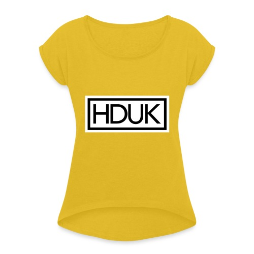 HDUK Black Logo with Border - Women's T-Shirt with rolled up sleeves