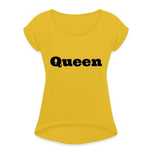 Snapback queen rood/zwart - Vrouwen T-shirt met opgerolde mouwen