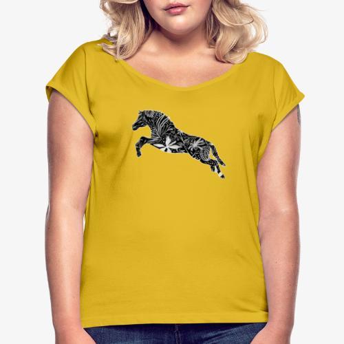 Flower Suokki III - Naisten T-paita, jossa rullatut hihat