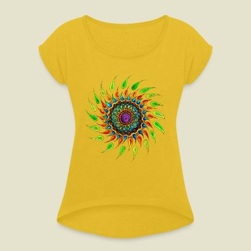 Celebrate Life - Frauen T-Shirt mit gerollten Ärmeln