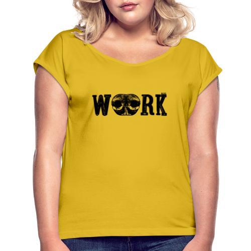Nose Work Nose Black - Naisten T-paita, jossa rullatut hihat
