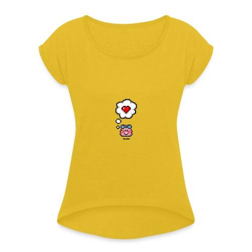 Love Toughts – Girl - Frauen T-Shirt mit gerollten Ärmeln