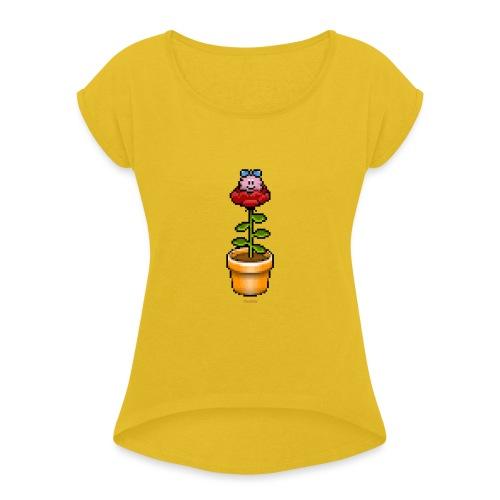 Rosentopf - Frauen T-Shirt mit gerollten Ärmeln