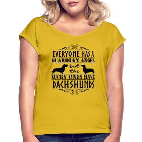 Dachshund WH SH Angels - Naisten T-paita, jossa rullatut hihat