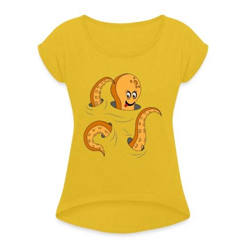 Simpatico polpo curioso - Maglietta da donna con risvolti