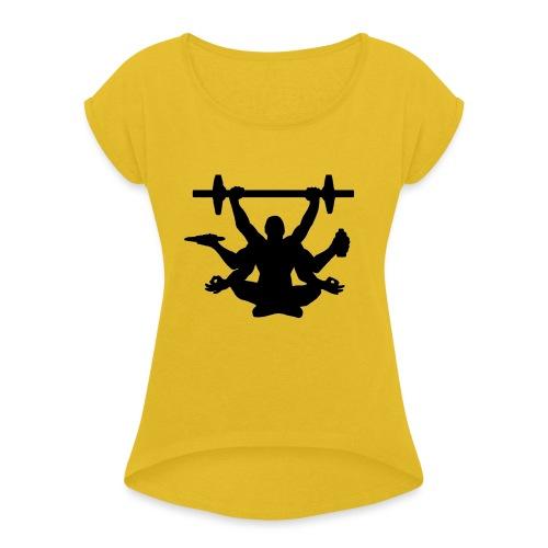 Focus training - Naisten T-paita, jossa rullatut hihat