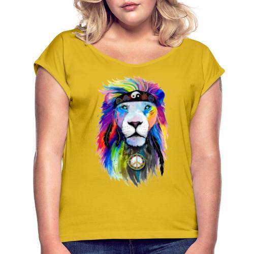 León hippie - Camiseta con manga enrollada mujer